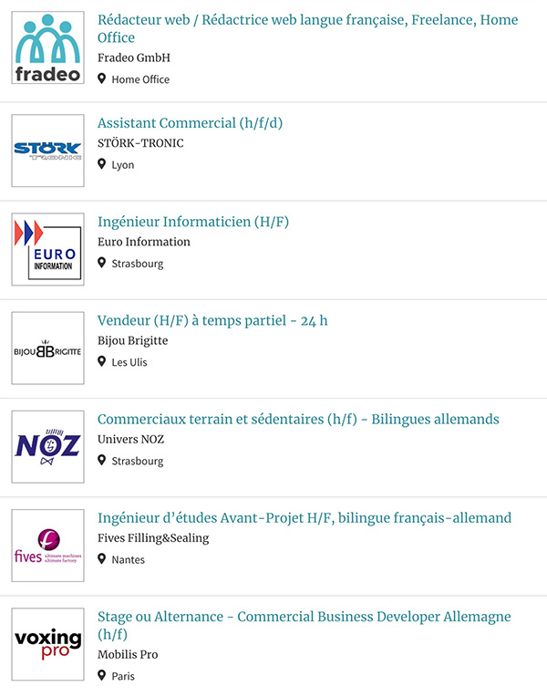 Liste des offres d'emploi diffusées dans le cadre du salon.